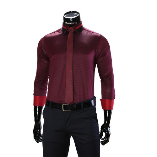 Чоловіча однотонна приталена сорочка BEL 1857-44