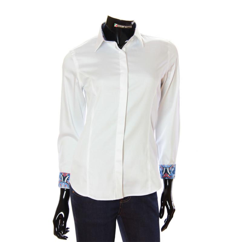 Жіноча біла сорочка однотонна з класичним коміром та манжетами. 713b2faa5cfd7