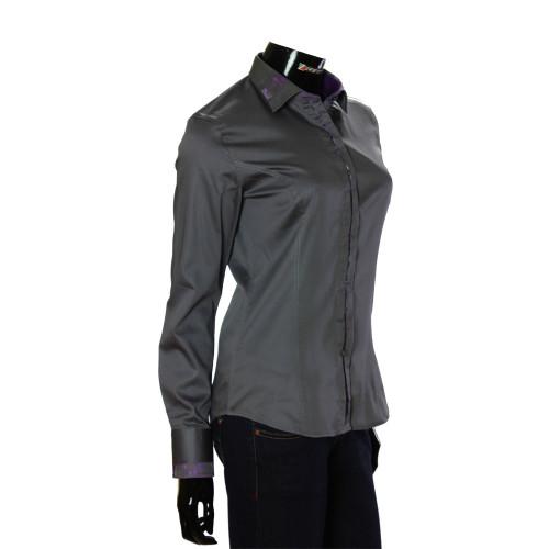 Женская однотонная приталенная рубашка TNL 1035-1
