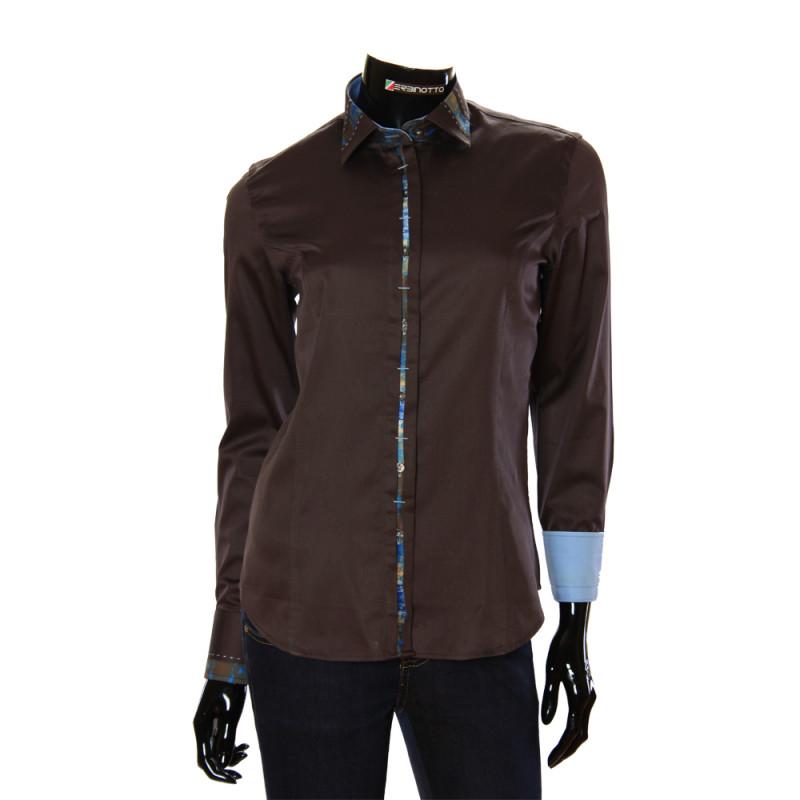 Женская однотонная приталенная рубашка TNL 1035-3