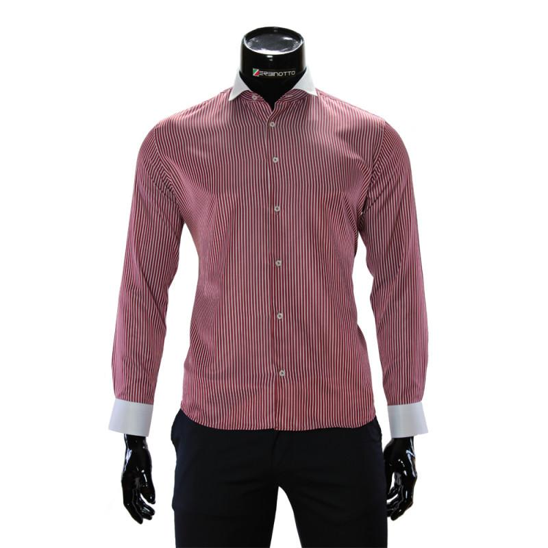 Мужская приталенная рубашка в полоску CAV 676-6