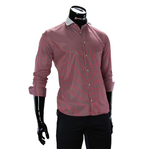 Чоловіча приталена сорочка у смужку CAV 676-6