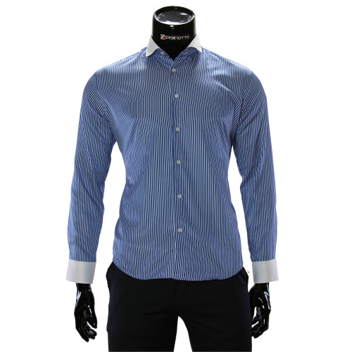 Мужская приталенная рубашка в полоску CAV 676-1