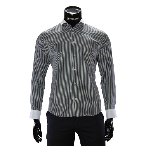 Мужская приталенная рубашка в полоску CAV 676-2