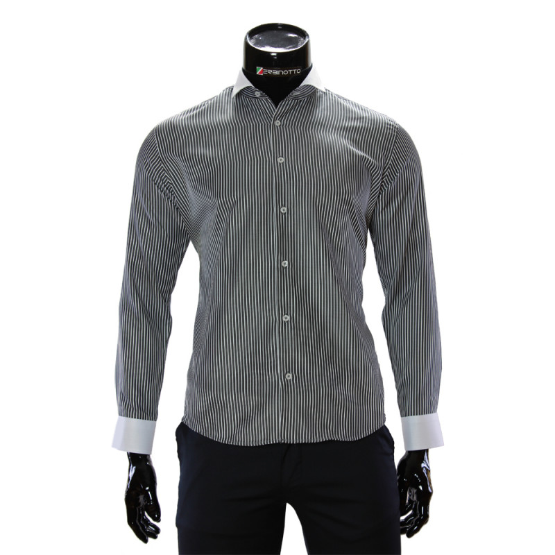 Men S Oxford Black Striped Slim Fit Shirt In White And Navy Color