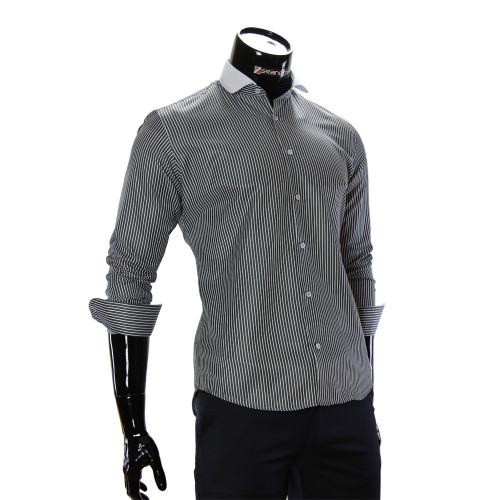 Чоловіча приталена сорочка у смужку CAV 676-2
