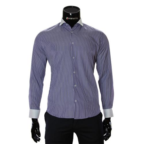 Мужская приталенная рубашка в полоску CAV 676-3