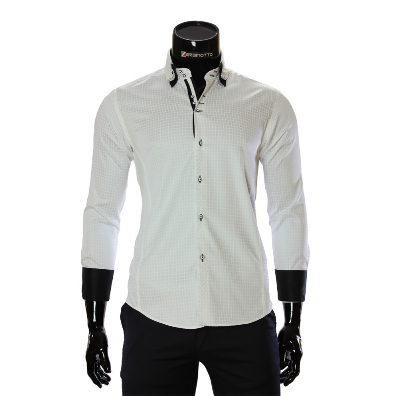 9d18a1950423 Men's white shirt is in printed check pattern with double collar.
