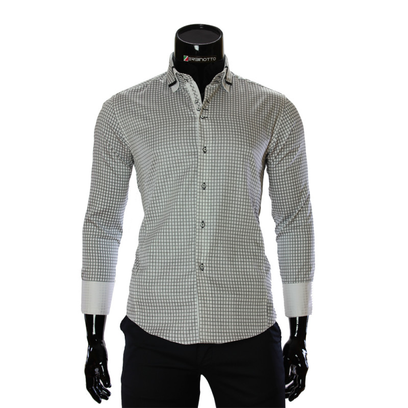 e02f90e6e326 Men's white shirt is in printed black check pattern and double collar.