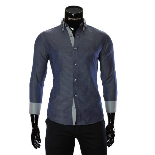 Мужская однотонная приталенная рубашка MM 1959-3