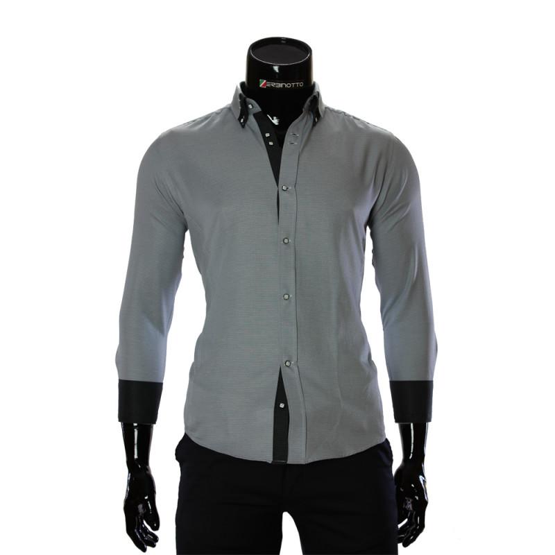Мужская однотонная приталенная рубашка MM 1959-4