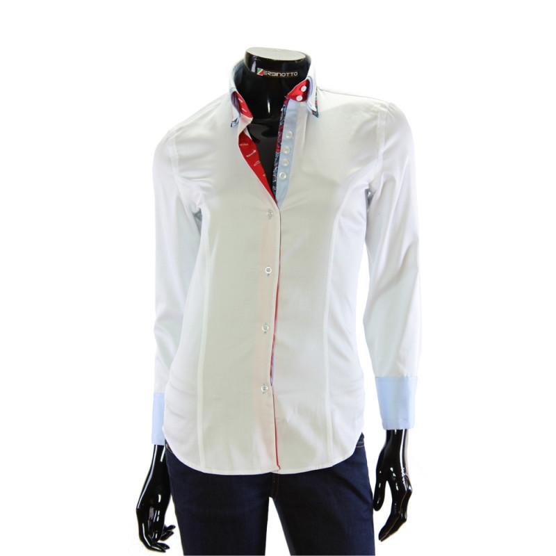 a6826da465e4 Женская белая рубашка однотонная с двойным воротником и манжетами.