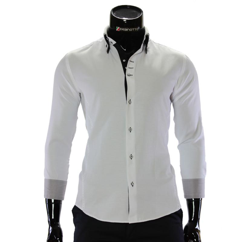 Мужская однотонная приталенная рубашка MM 1960-7