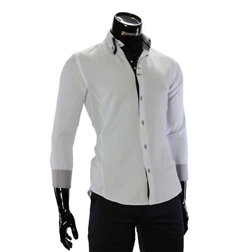 Чоловіча однотонна приталена сорочка MM 1960-7