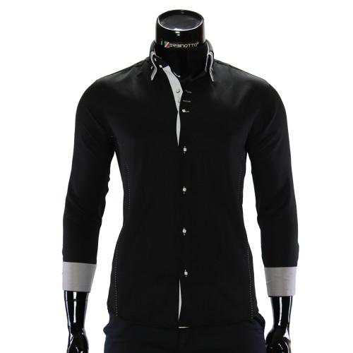Мужская однотонная приталенная рубашка MM 1960-6