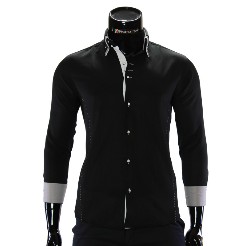 14f0c45b3b04 Men's black shirt is in printed check pattern with double collar.