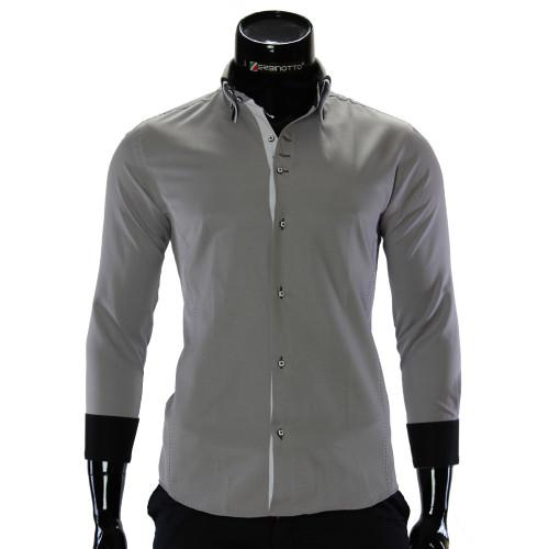 Мужская однотонная приталенная рубашка MM 1960-5