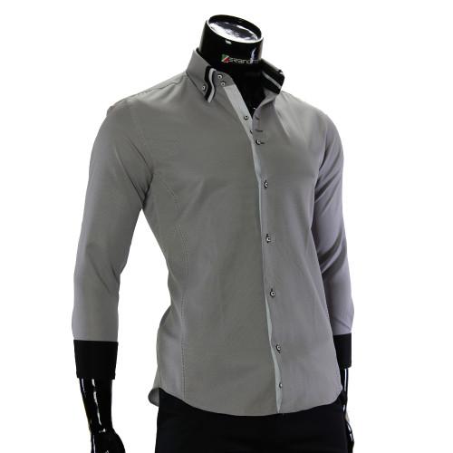 Чоловіча однотонна приталена сорочка MM 1960-5