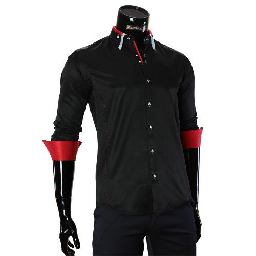 Мужская однотонная приталенная рубашка MM 1960-10
