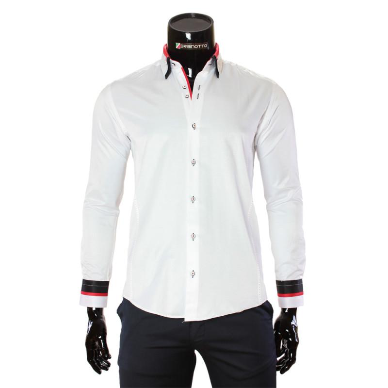 Мужская однотонная приталенная рубашка MM 1960-11