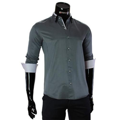 Мужская однотонная приталенная рубашка MM 1960-12