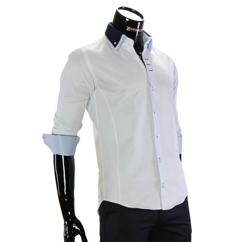 Мужская однотонная приталенная рубашка MM 1960-13