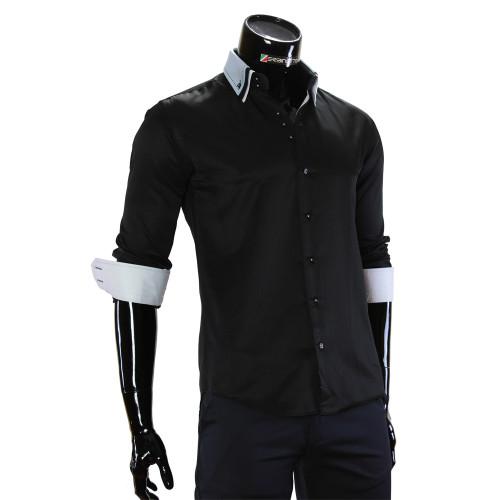 Мужская однотонная приталенная рубашка MM 1960-14
