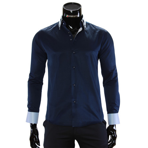 Чоловіча однотонна приталена сорочка MM 1960-15