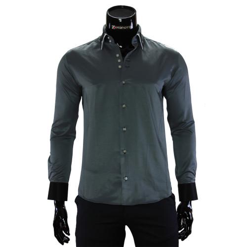 Мужская однотонная приталенная рубашка MM 1960-16