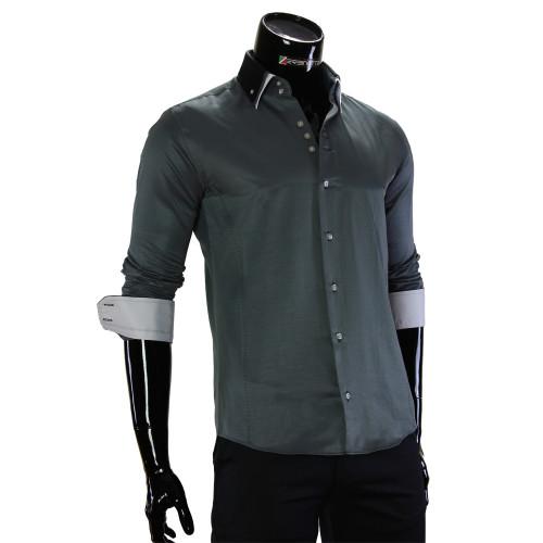 Чоловіча однотонна приталена сорочка MM 1960-16
