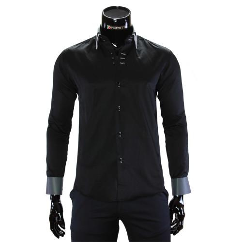 Мужская однотонная приталенная рубашка MM 1960-17
