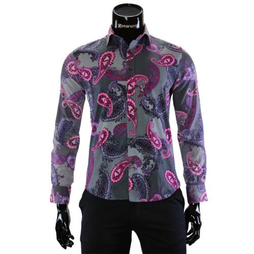 Мужская приталенная рубашка в узор LF 7055-8
