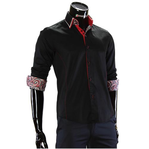 Мужская однотонная приталенная рубашка MM 1960-18