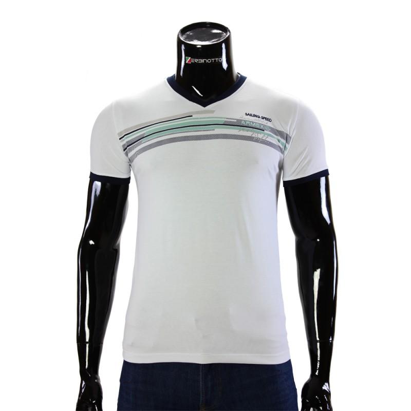 Чоловіча біла футболка ARM 1143-3. Купити футболку недорого. f420ff20ea482
