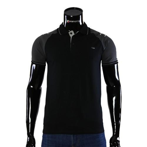 Stretch Black T-shirt Polo RYM 1107-9