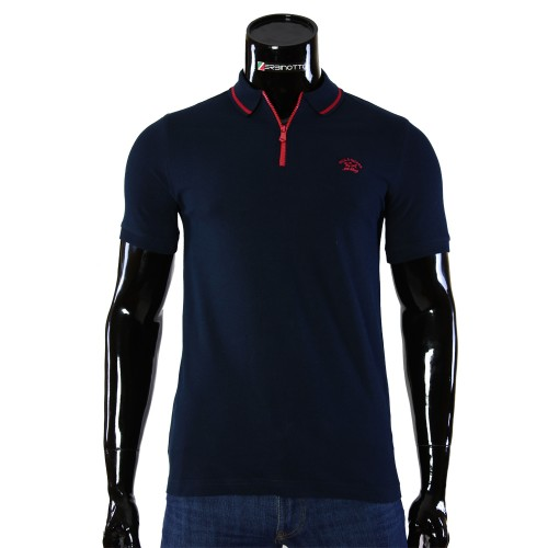 Cotton Navy T-shirt Polo Paul&Shark D 240-8