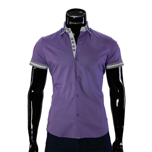 Shirt Bragga Satin Lilac Short Sleeve BH 0041-2