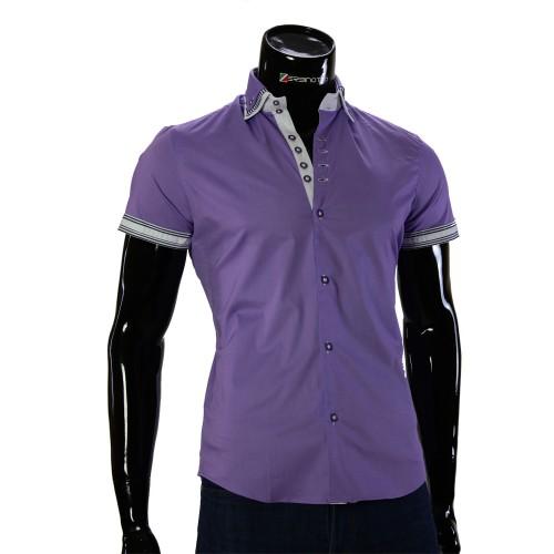Мужская однотонная рубашка с коротки рукавом BH 0041-2