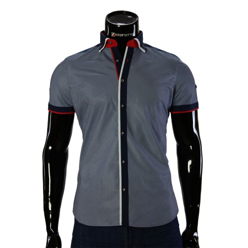 Shirt Bragga Poplin Navy Short Sleeve BH 0052-1