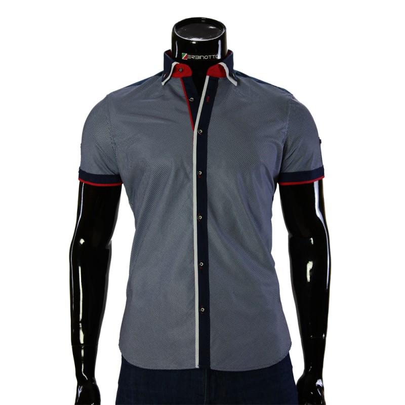 Мужская однотонная рубашка с коротки рукавом BH 0052-1