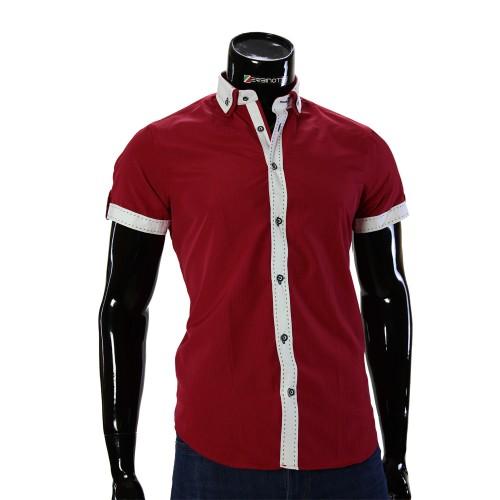 Мужская однотонная рубашка с коротки рукавом BH 0064-1