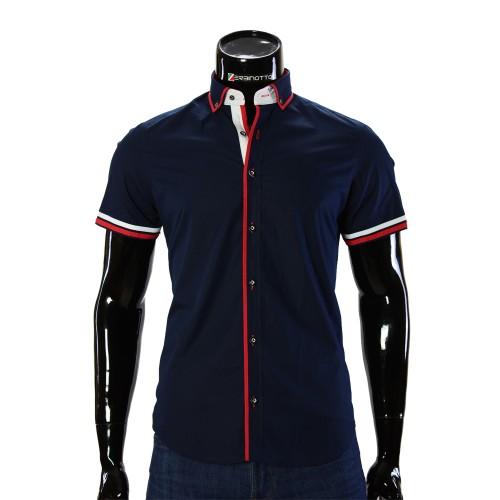Мужская однотонная рубашка с коротким рукавом BH 0071-3