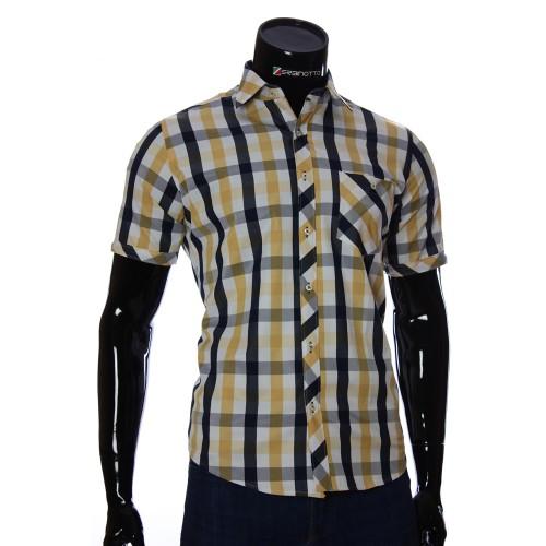 Мужская рубашка в клетку с коротки рукавом BEL 918-2