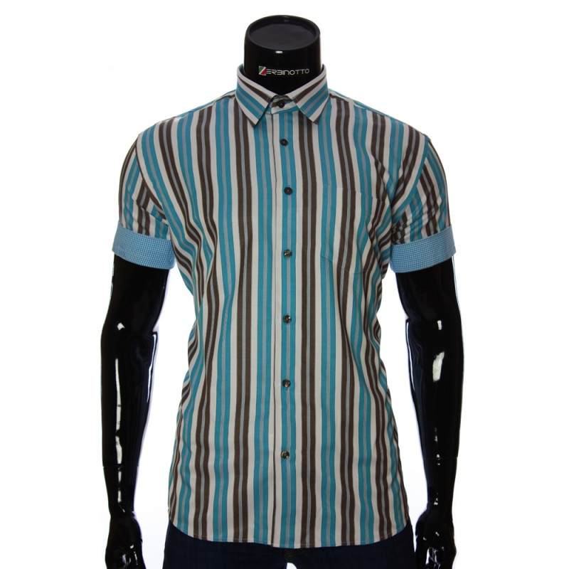 Мужская рубашка в полоску с коротки рукавом BEL 921-3