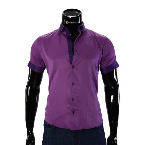 Мужская однотонная рубашка с коротким рукавом LG 929-3