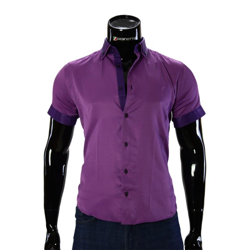Мужская однотонная рубашка с коротки рукавом LG 929-3