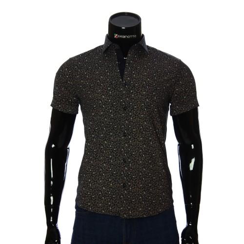 Мужская рубашка с коротким рукавом в узор BEL 932-19