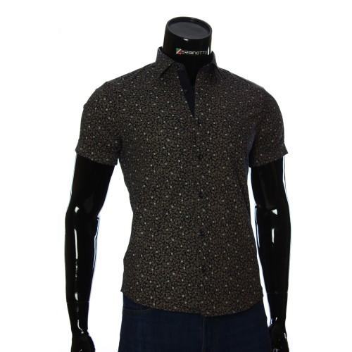 Мужская рубашка с коротки рукавом в узор BEL 932-19