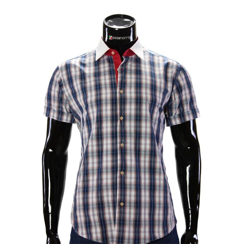 Чоловіча сорочка в клітинку з коротким рукавом 8681-1. Купити недорого 6d328200b4006