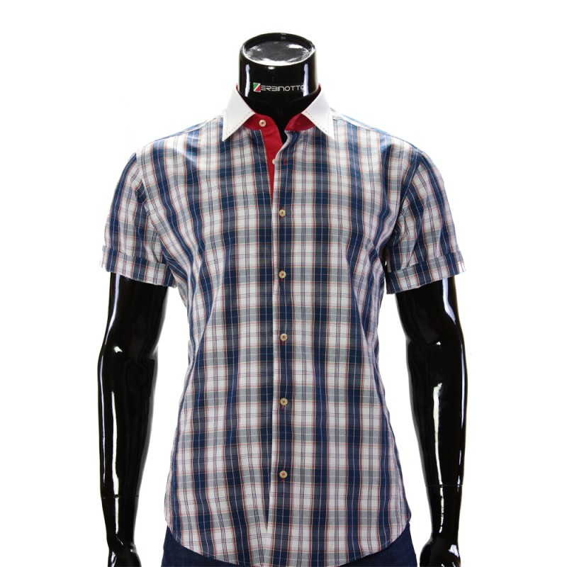 Мужская рубашка в клетку с коротки рукавом BEL 8681-1
